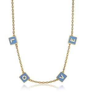 tory burch love enamel message necklace in blue